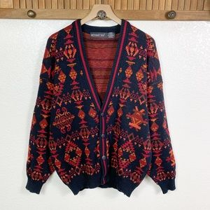 Vintage Aztec Tribal Grandpa Oversized Cardigan